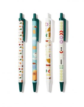 CHORIATIKI/SOUVLAKI/COFFEE/GLYKO KOUTALIOU PEN SET OF 4